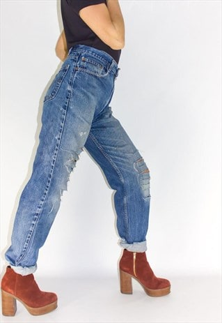 super specials enjoy free shipping price Vintage Reworked Grunge Ripped Levi Jeans