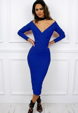 Long Sleeve Off Shoulder Bardot Maxi Midi Bodycon Dress