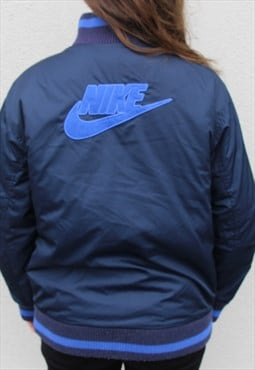 Vintage Nike Bomber Jacket Size Women's Medium Navy Blue