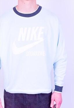 Vintage 90s Nike Spell Out Boxy Sweatshirt Baby Blue Medium