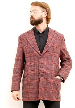 Three Buttons Formal Sport Coat Checkered Red Men Blazer