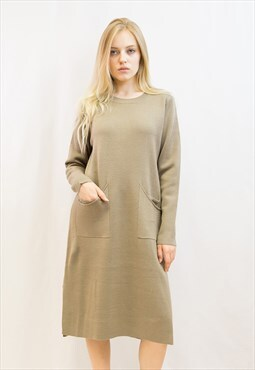 oversized long sleeve tunic knit jumper dress in beige color