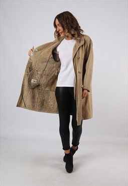 Sheepskin Suede Leather Shearling Coat UK 14 (C92L)