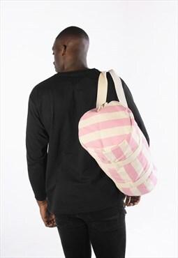 Striped Barrel Holdall Backpack Bag - Pink/White