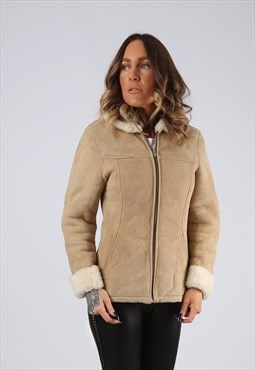 Sheepskin Suede Leather Shearling Coat UK 4 - 6  XXS (LJ3X)