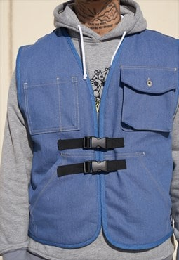 Handmade Denim Utility Pocket Vest With Quilted Linen