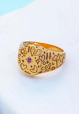 Gold Oval Doodle Signet Ring Mood Good Holly St Clair