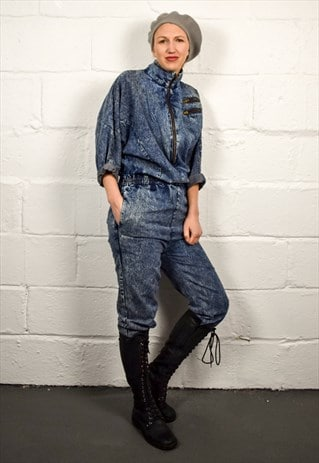 VINTAGE 80S BLUE DENIM JUMPSUIT