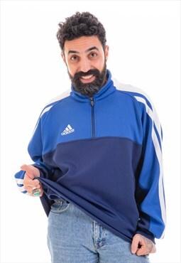Vintage ADIDAS 1/4 Zip Sweatshirt in Blue D038