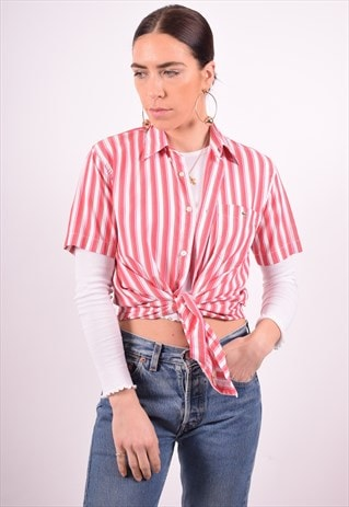 LACOSTE WOMENS VINTAGE SHIRT LARGE RED STRIPES 90'S