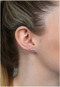 Sterling Silver WTF Earrings Studs