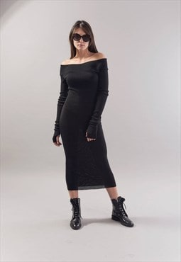 Long Sleeve Midi Dress/Casual Evening/Open Shoulders/F1780