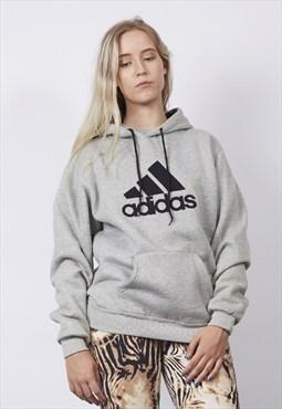 Vintage 90's Adidas grey/black logo hoodie