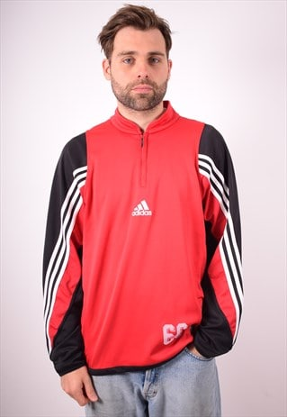 ADIDAS MENS VINTAGE PULLOVER TRACKSUIT TOP LARGE RED 90S