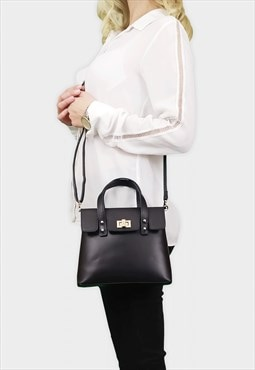 Real Leather Mini Crossbody Bag for Women - Black