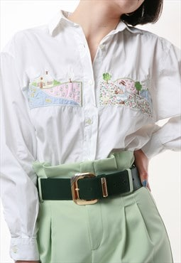 90s Vintage Benetton White Embroidered Shirt 1497