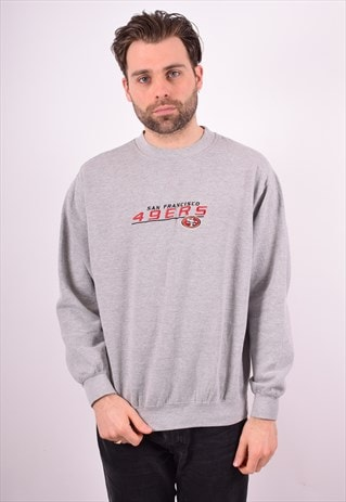 NFL MENS VINTAGE SWEATSHIRT JUMPER LARGE GREY 90'S
