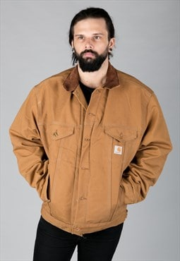 Vintage 90s Carhartt Coat Corduroy Collar Tan/Brown