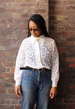 Vintage 80s White Lace Shirt