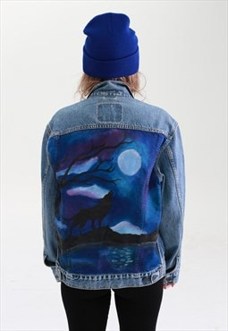 UpCycled Levis Blue Denim Jacket with Hand Painted Night Sky