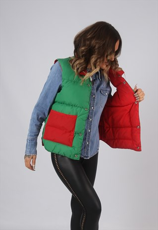 VINTAGE GILET JACKET REVERSIBLE PUFFER RED GREEN UK 14 (LAG)
