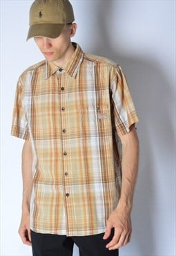 Y2K Dickies Beige Brown Check Short Sleeve Shirt