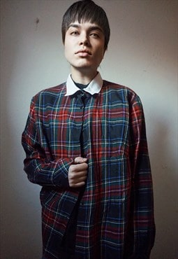 Vintage School Boy White Collar Plaid Shirt
