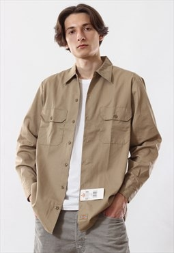 Vintage DICKIES Shirt 90s Camel Beige Long Sleeve Workwear