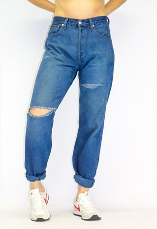 VINTAGE 501 DISTRESSED DYED BLUE BOYFRIEND JEANS