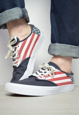 Vintage 90s Vans American Flag Skate Shoes Trainers Sneakers
