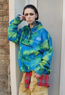 Oversized tie-dye fleece jumper gradient acid high neck top