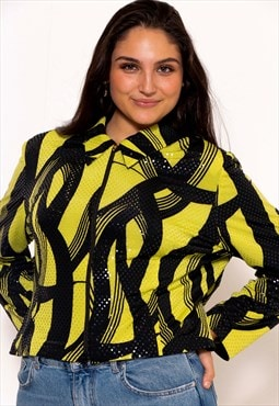 Vintage 80's Lime Green Zip Up Blouse