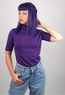 PETER HAHN Vintage 90's Knit Turtleneck in Purple