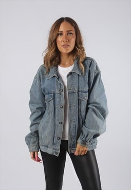 Vintage Denim Jacket Oversized Fitted UK 14 Large (HDZ)