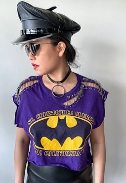 Batman Vintage punk rock pin upcycled crop tee/t-shirt