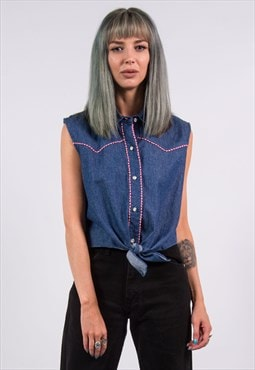 90's Vintage Western Denim Cropped Tie Shirt