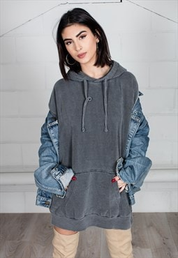 Cosmic Saint Graphite Washed Oversized Hoodie