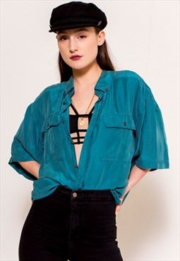 Vintage 90's Turquoise Button Up Shirt