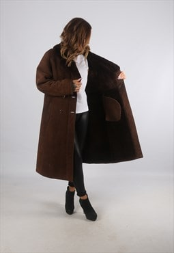 Vintage Sheepskin Suede Shearling Coat Long UK L 14 (K93K)