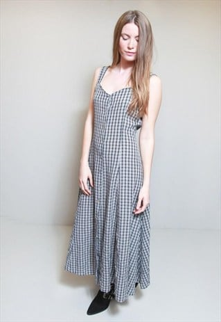 VINTAGE 1990'S NAVY BUTTON FRONT CHECKED MAXI DRESS.