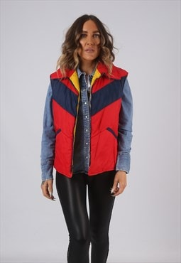 Vintage Gilet Jacket Fitted Red UK 14  (LA-D)
