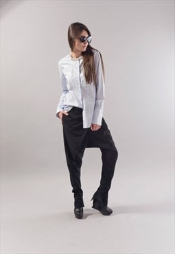 Oversized Shirt White Top Embellished with beads F1789