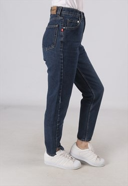 High Waisted Denim Jeans Wide Tapered Leg UK 8 - 10 (GWCQ)