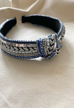Statement Silver  and Blue Sequin Knot Headband
