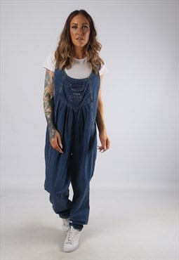 Vintage Denim Dungarees Wide Tapered Leg UK 14 (JRBH)