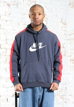 Vintage Nike Embroidered Spellout Logo Hoodie Blue