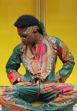 African Print Two Piece - Dashiki Trousers - Tribal Shirt