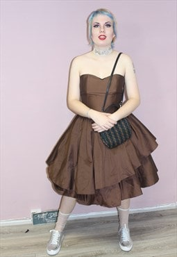 Vintage Brown 1980s Prom Dress