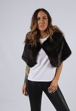 Vintage Faux Fur Shrug Shawl Jacket UK 10 - 12  (J3Q)