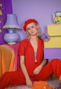 Vintage red 90's Y2K short sleeve trouser suit